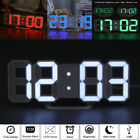 LED Digital 3D Table Desk Wall Clock Alarm 24/12Hr Display USB/Battery Home Deco