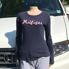 Tommy Hilfiger Navy Blue Long Sleeve Top Small Distressed Logo                BJ