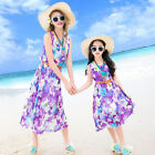 Purple Summer Family woman Girl dresses floral chiffon dress Girls Bohemia dress