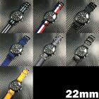 22mm Military Army Washed Leather Nylon Canvas Stripe Wrist Watch Band Straps image