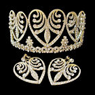 Luxury Clear Crystal Rhinestone Hollow Leaf Crown/Tiara & Earrings Set
