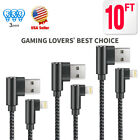 3 Pack 90 Degree Right Angle lightning USB Charger Cable for Apple iPhone Cable