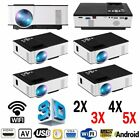 LOT 1~5X Wifi Wireless 1080P HD Android LED Projector Smart
