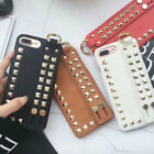 Rivet PU Leather Hand Strap Wonderful Fashion Back Cover Case For iPhone X 7 8Plus