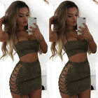 women club outfits - Women 2 Piece Skirt and Crop Top Tank Set Outfit Suede Bodycon Dress Party Club