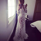 Women Lace Floral Boho Long Maxi Dress Party Wedding Ball Gown Cover up Dresses