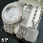 MENS ICED OUT HIP HOP SILVER PT WATCH & FULL ICED NECKLACE & BRACELET COMBO SET