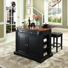 Crosley Drop Leaf Breakfast Bar Top Kitchen Island with 24 in. Upholstered