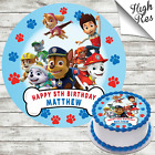 PAW PATROL ROUND EDIBLE BIRTHDAY CAKE TOPPER DECORATION PERSONALISED