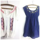 Boho Blouse Lot Size S Papaya Feather Bone Embroidered Anthroplogie Nordstrom