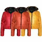Ladies Puffer Wet Look Womens Padded Zip Detachable Hood Jacket Coat Top