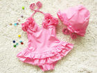 1-10Y Children Swimsuit+Cap Flower Toddler Baby Girls One Piece Swimwear