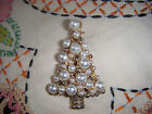 Exquisite Vintage  Unique Faux Pearl Chistmas Tree Brooch PIn