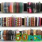 50pcs Wholesale Cool Bracelet Leather Cord Braid Tribal Unisex Wristband Jewelry