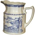 Antique Mason's Blue and White Pitcher. Quail Pattern