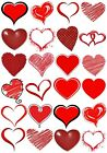 65 Mixed Red Hearts Love Small Sticky White Paper Stickers Labels NEW