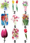 Tulip Flower Small or Large Sticky White Paper Stickers Labels NEW
