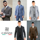 Cavani Mens 3 Piece Tweed Formal Suit Blazer Waistcoat Trous