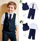 Toddler Kids Baby Boys Waistcoat+Tie+Shirt+Pants Outfits Clothes Sets Suits 4pcs