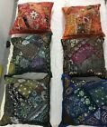 """LARGE BEADED CUSHION COVER  24X24"""" 60CM. INDIAN ANTIQE STYLE COTTON PATCH COVER"""