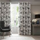 ISABELLE Petrol Floral Leaf Eyelet Fully Lined Ring Top Ready Made Curtains