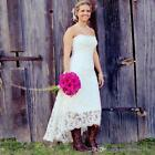 White/Ivory High Low Strapless Country Lace Wedding Dresses Bridal Gowns Custom