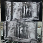 Black & white 2 pathway woods pictures with liquid art, crystals & mirror frames