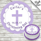 CHRISTENING ROUND EDIBLE CAKE TOPPER DECORATION PERSONALISED