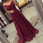 2018 New Burgundy Off-Shoulder A Line Long Prom Homecoming Dresses Evening Gowns