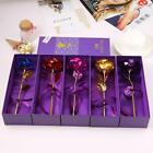 24K Gold Foil Trim Long Stem Artificial Flowers Faux Roses Valentine Day HYFG