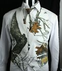 New Mossy Oak Winter Branch Camo Reversible to Black Backless Mens Vest Wedding