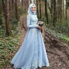 Muslim Light Blue Lace Hijab Evening Prom Dresses Formal Party Gowns Long Sleeve