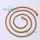 "18-36"" Gold Stainless Steel 3.5 mm Chain Necklace for Men's Wheat Braided"
