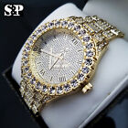 MENS ICED OUT HIP HOP GOLD PT LUXURY MASONIC FREEMASON METAL BAND WRIST WATCH
