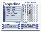 Daily Weekly Chore Chart works like Dry Erase Board, You choose Name and Color