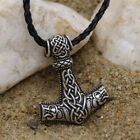Men Nordic Viking Mjolnir Wolf Pendant Leather Cord Myth Thor's Hammer Necklace photo