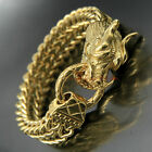 Stainless Steel Heavy Gold Chinese Dragon Head Franco Box Cuban Chain Bracelet