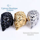 Men's Stainless Steel Gold Silver Black Lion King Band Ring