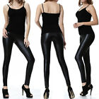 Women Winter Thick Leggings Faux Leather Stretch Pants Black Trousers Plus Size