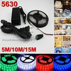 5M 10M 15M 5630 SMD Flexible LED Light Strip Ribbon Lamp12V DC+Power Supply