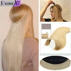 "20""Crown Wire Invisible Headband Hair Extensions Halo Style 100% Human Hair 150g"