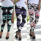 Women Plus Size Vintage Camouflage Elastic Tribal Aztec Print Legging Long Pants