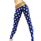 Wonder Woman Super Hero Blue Stars Pants Fold Over/High Rise Legging SXYFITNESS