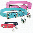ZL- Faux Leather Pet Collar Cat Puppy Dog Bell Pendant Buckle Neck Strap Braw