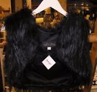 NWT FABULOUS FUR CROPPED RICH BLACK VEST BY Donna Salyers ~ Sizes Small & Large~