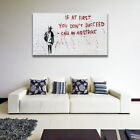 Banksy Canvas Print Graffiti Street Wall Home Decor With Frames Airstrike Quote