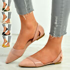 New Womens Slip On Ballet Flats Ladies Ballerina Pointed Pumps Shoes Size Uk