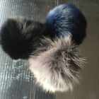 Furry Pom Pom with Elastic Loop for attaching to Hat Key Ring Gey Black Navy