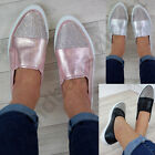New Womens Diamante Sneakers Slip On Trainers Casual Pumps Comfy Flat Shoes