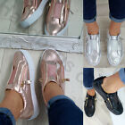 New Womens Flat Metallic Sneakers Slip On Casual Trainers Comfy Soft Shoes